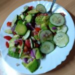 Chilled Red Onion, Cucumber & Avocado Salad with Creamy Spiced Peanut Sauce