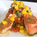 Barbecued Spiced Salmon with Mango Salsa