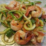 Lemon & Garlic Shrimp over Zucchini Noodle Pasta