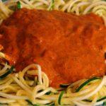 Zucchini Noodles with Creamy Lemon Cashew-Tahini Tomato Sauce